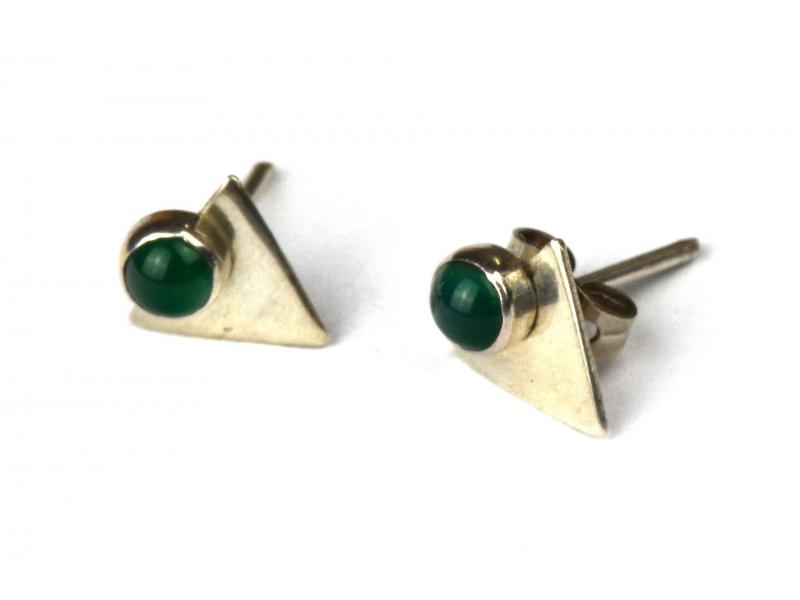 Stříbrné náušnice, pár, zelený kamínek, 10mm, zapínání na puzetu (AG 925)