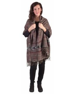 Velký zimní šál s geometrickým vzorem, šedo-vínová, 205x90cm