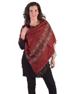 Velký zimní šál s geometrickým vzorem, červená, 205x90cm