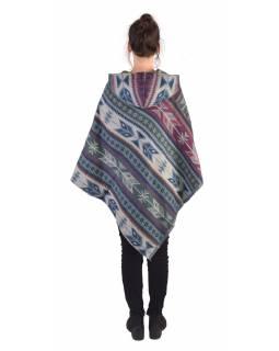 Barevné pončo s kapucí a třásněmi, vzor aztec, šedo-fialové
