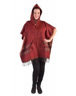 Barevné pončo s kapucí a třásněmi, vzor aztec, červené