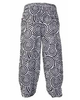Dlouhé balonové kalhoty se spirálkami, bílo-černé, žabičkování