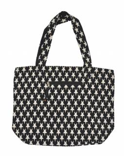 Velká taška, černo-bílá, hvězdy, 2 malé vnitřní kapsy, zip, 51x39cm +29cm
