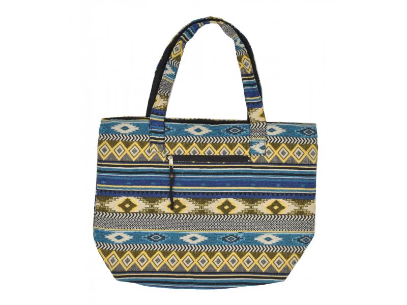 Velká taška, modro-žlutá, Aztec design, 2 malé vnitřní kapsy, zip, 51x39cm +29cm