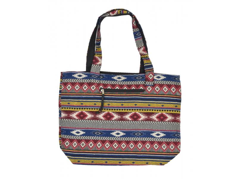 Velká taška, barevná, Aztec design, 2 malé vnitřní kapsy, zip, 51x39cm +29cm
