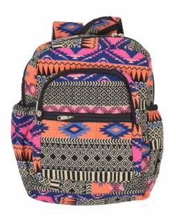 Batoh, barevný, Aztec design, kapsy, zip, nastavitelné popruhy, 34x36 cm