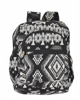 Batoh, černo-bílý, Aztec design, kapsy, zip, nastavitelné popruhy, 34x36 cm