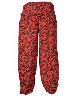 Dlouhé balonové kalhoty se spirálkami, červeno-černé, žabičkování