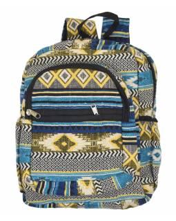 Batoh, modrý, Aztec design, kapsy, zip, nastavitelné popruhy, 34x36 cm