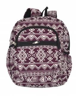 Batoh, vínovo-bílý, Aztec design, kapsy, zip, nastavitelné popruhy, 34x36 cm