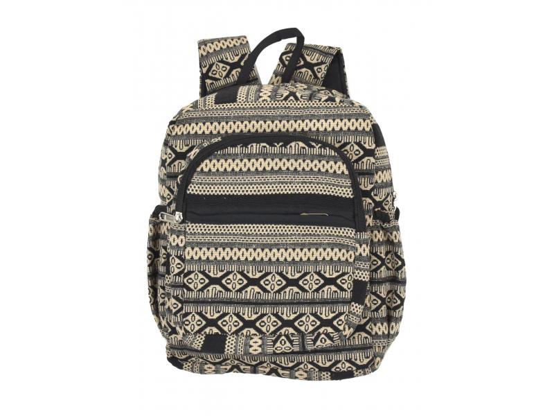 Batoh, černo-béžový, Aztec design, kapsy, zip, nastavitelné popruhy, 34x36 cm