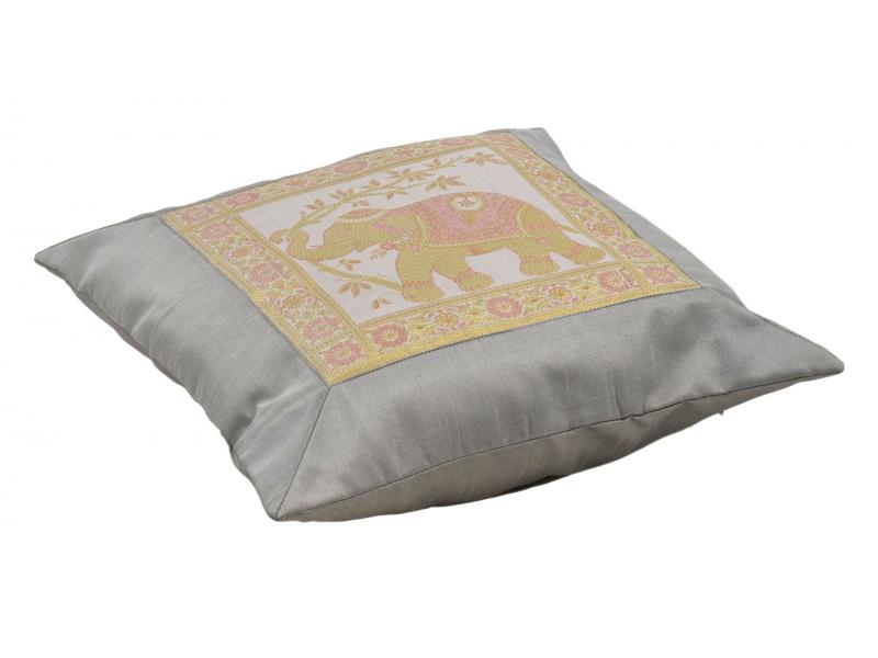 Povlak na polštář, saténový, se slonem, šedo-stříbrný, zlatá výšivka, 40x40cm