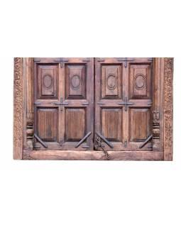 Antik dveře s rámem z Gujaratu, teakové dřevo, 160x14x265cm