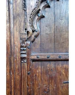 Antik dveře s rámem z Gujaratu, teakové dřevo, 190x14x270cm