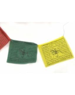Modlitební praporky, 25x praporků, 14x12cm, černý tisk, polyester