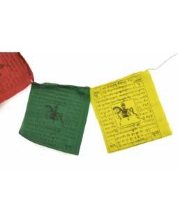 Modlitební praporky, 10x praporků, 18x19cm, černý tisk, bavlna