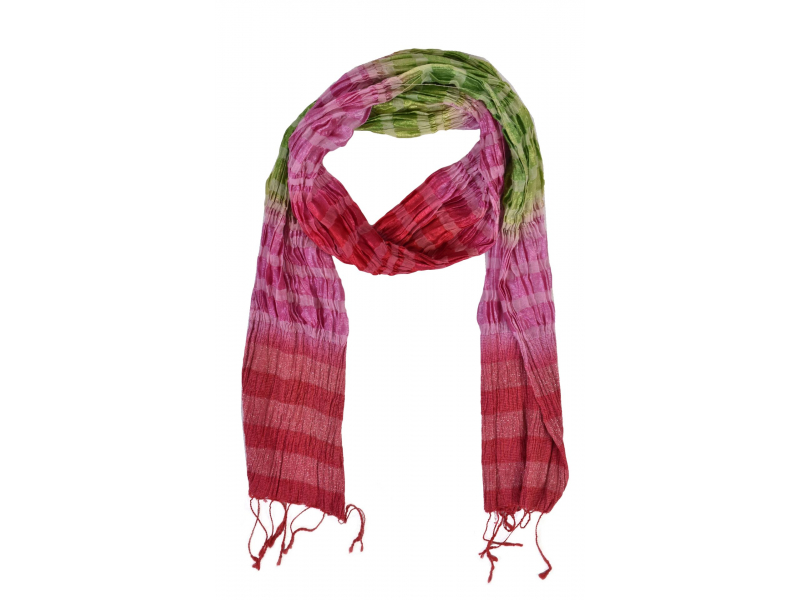 Šátek, hedvábí, mix barev, lurex, žabičkování, třásně, 20x160cm