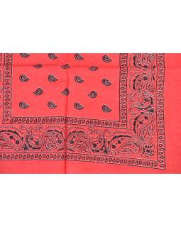 Šátek s paisley potiskem, červený, 50x50cm