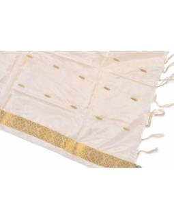 Šátek - polyester, sárí, krémový