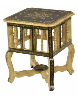 Stolička z mangového dřeva, ručně malovaná, 39x39x46cm