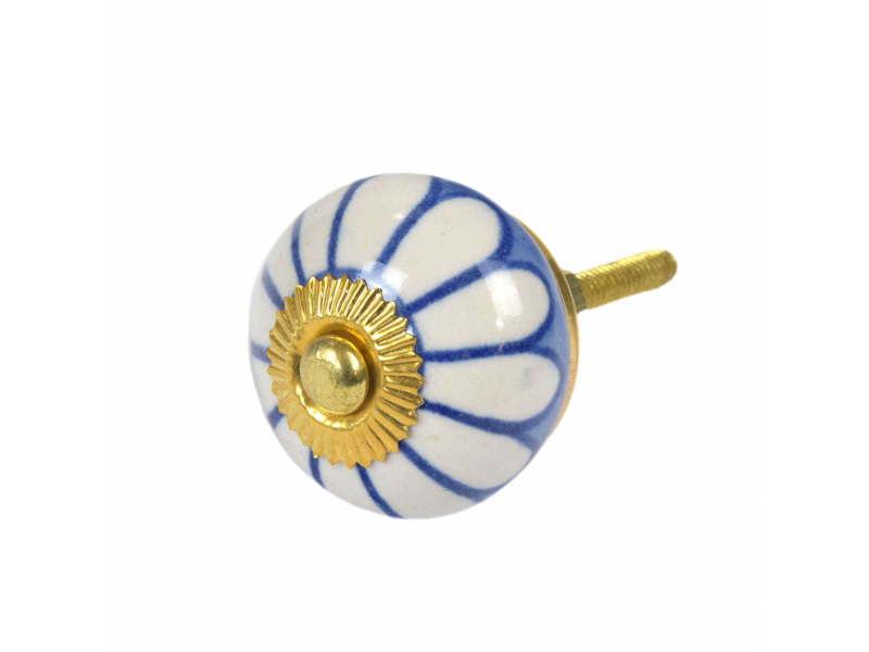 Malovaná porcelánová úchytka na šuplík, modrá, bílá květina, průměr 3,7cm