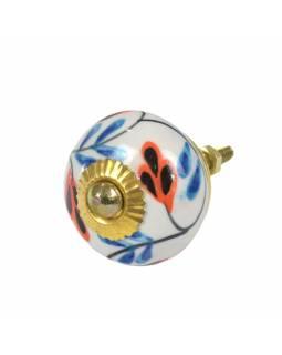Malovaná porcelánová úchytka na šuplík, bílá, modro-oranžové listy, průměr 3,7cm