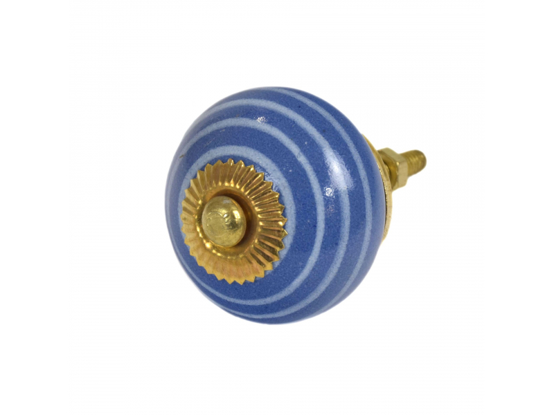 Malovaná porcelánová úchytka na šuplík, modrá se světle modrým proužkem, 3,7cm