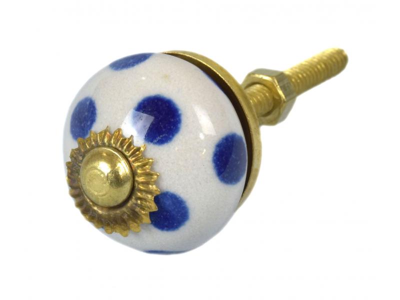 Malovaná porcelánová úchytka na šuplík, bílá, modré puntíky, průměr 2,7cm