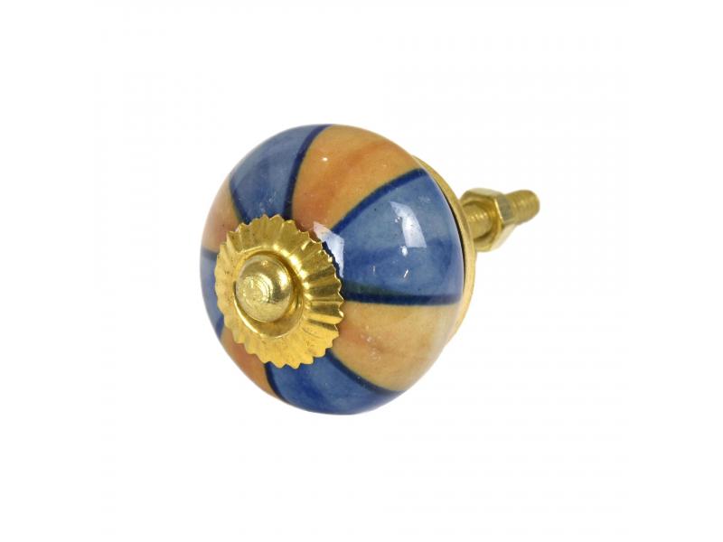 Malovaná porcelánová úchytka na šuplík, modro-hnědá, zlatý dekor, průměr 3,7cm