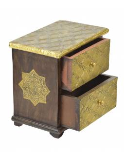 Dřevěná skříňka s mosazným kováním, 2 šuplíky, 21x13x21cm
