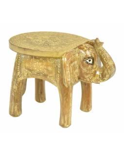 Mini stolička ve tvaru slona, ručně malovaná, 25x18x18cm