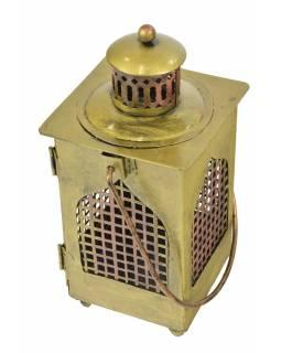 Kovová lucerna v barvě mosazi, 12x12x25cm