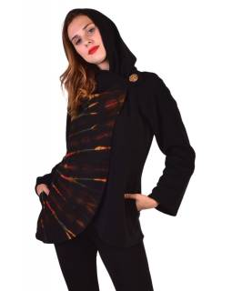 Černý fleecový kabát s kapucí zapínání na knoflík, dvě kapsy, batika