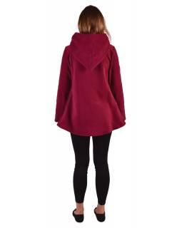Vínový fleecový kabát s kapucí zapínání na knoflík, dvě kapsy, batika