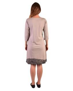 Krátké šaty, 3/4 rukáv, béžové, černo-vínový potisk květin, kulatý výstřih