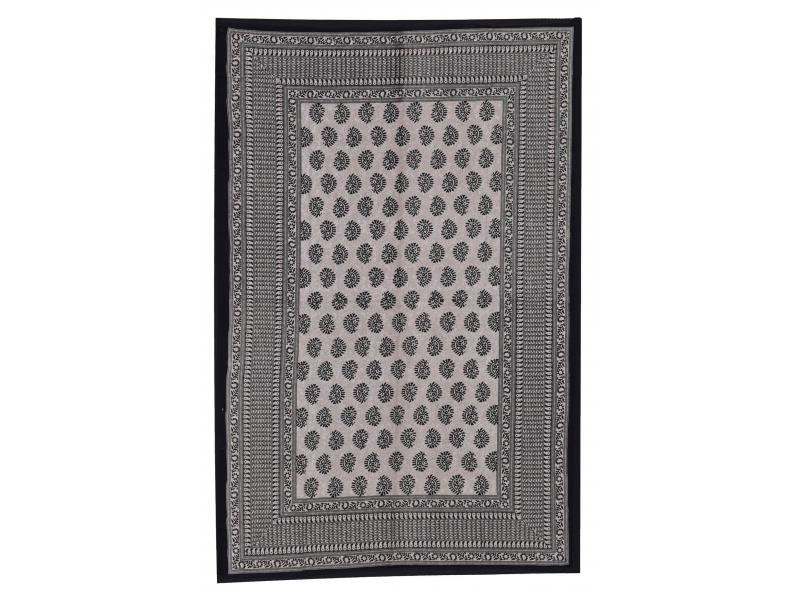 Přehoz na postel s ručním tiskem, černý, 220x136cm