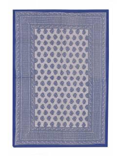 Přehoz na postel s ručním tiskem, modrý, 220x136cm