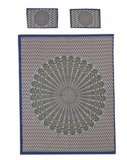Přehoz na postel a dva povlaky na polštáře s mandalou, modrý, 216x260cm