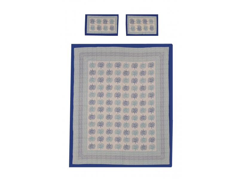 Přehoz na postel a dva povlaky na polštáře s potiskem stromů, modrý, 212x258cm