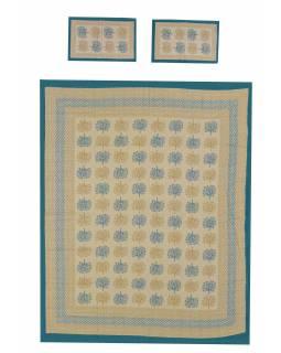 Přehoz na postel a dva povlaky na polštáře s potiskem stromů, žlutý, 212x258cm