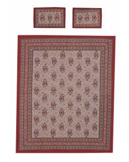 Přehoz na postel a dva povlaky na polštáře s potiskem, květin, 212x258cm