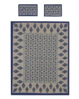 Přehoz na postel a dva povlaky na polštáře s potiskem, květy, 212x258cm