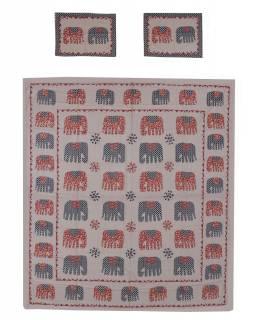 Přehoz na postel a dva povlaky na polštáře s potiskem slonů, 240x260cm