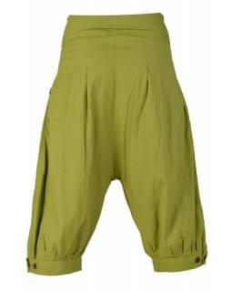 Zelené tříčtvrteční turecké kalhoty s prošíváním, zip a knoflíky, kapsy