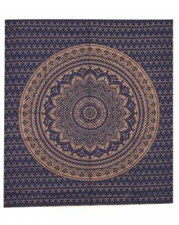 Přehoz s tiskem, Mandala, modro-zlatý, 220x200 cm