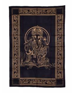 Přehoz s tiskem, černý, zlatý tisk, Ganéš, 206x140cm