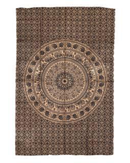 Přehoz s tiskem, černý, zlatý tisk, Mandala, 204x140cm