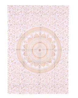 Přehoz na postel s ručním tiskem, Mandala, bílo-zlatá 210x150cm