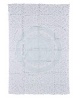 Přehoz na postel s ručním tiskem, Mandala, bílo-stříbrná 210x150cm