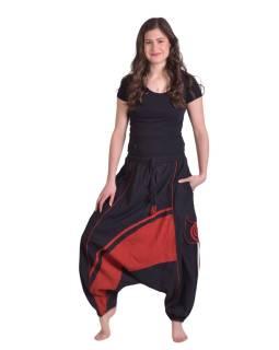 Dlouhé turecké kalhoty, černo-červené, spirála, kapsy, pružný pas